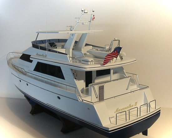 Stern view of 78' NorthCoast yacht model