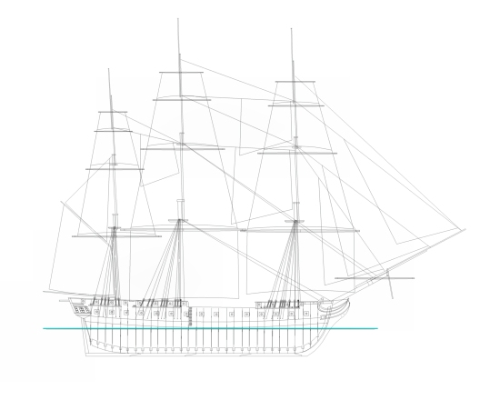 drawing of a frigate
