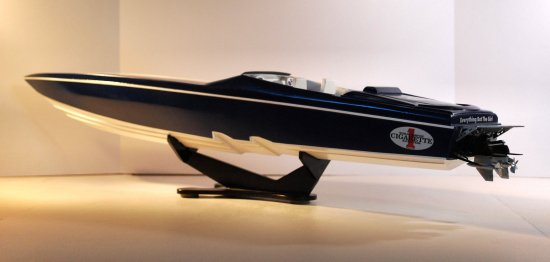 Port side of powerboat model