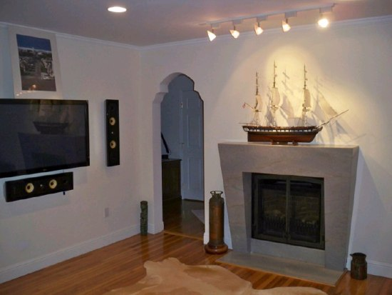 Ship model displayed above fireplace
