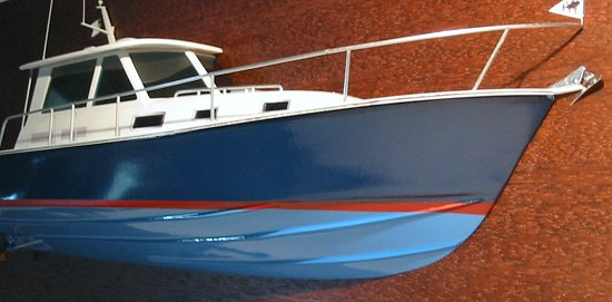 BlueStar 36.6 MKII boat model- rail and pilot house detail