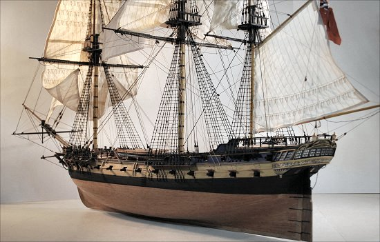 Image of model stern, rigging and sails